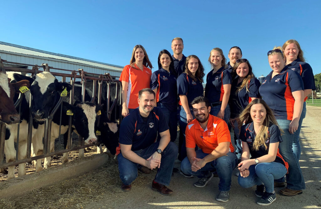 A group of students and faculty in orange and blue shirts stand near several black and white cows.