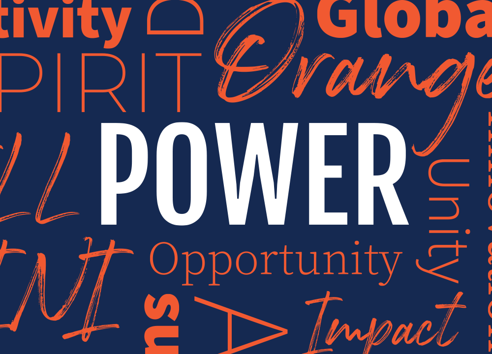 A poster displaying random motivational words including orange, global, power, impact, and several cut off words