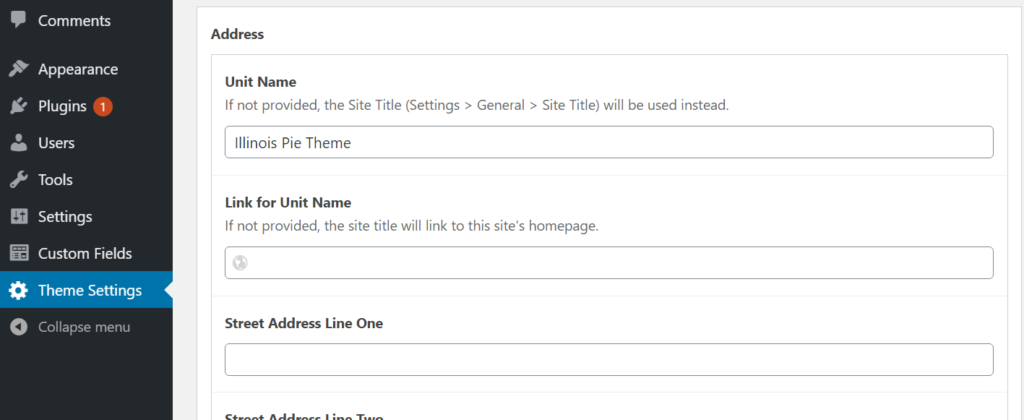 Theme Settings item selected; within the Footer area, the Address and Unit Name sections are displayed.