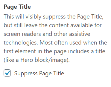 Page Title area with Suppress Page Title checked